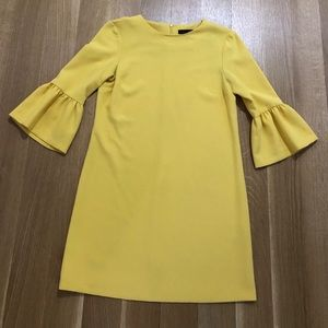 Zara yellow 3/4 long sleeve shift dress size small